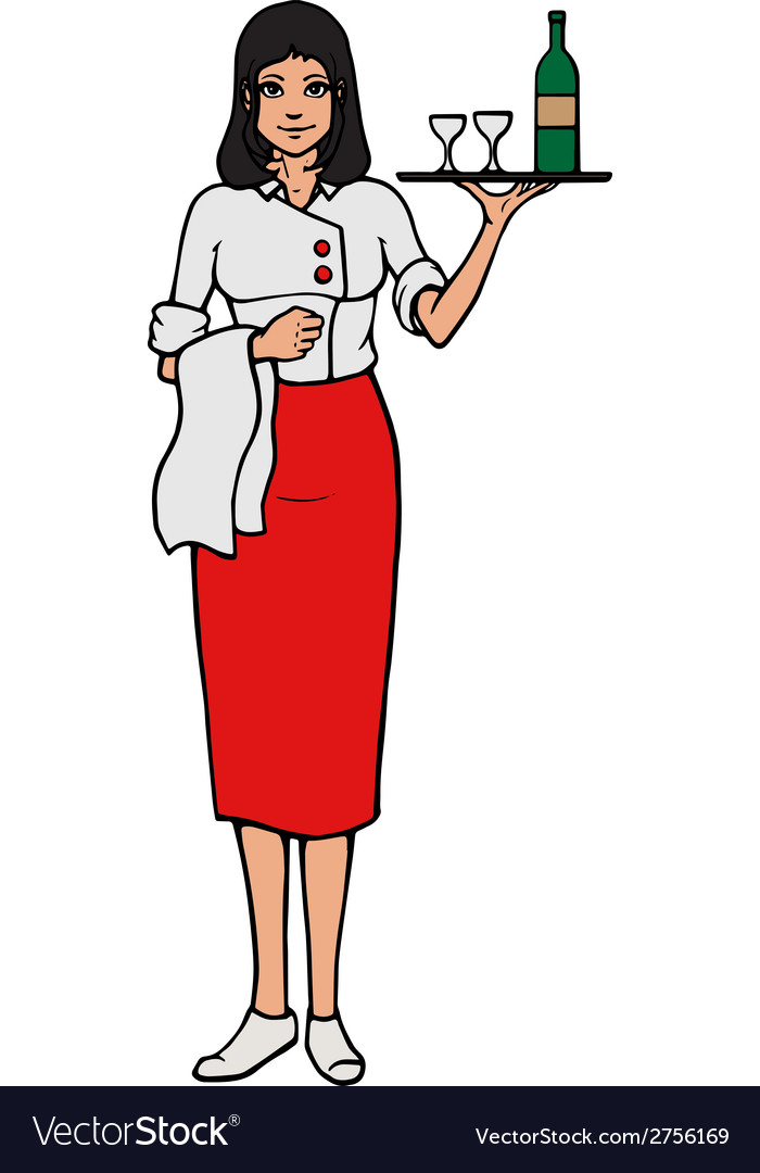 Cheerful waitress with tray and wine glass vector | Price: 1 Credit (USD $1)