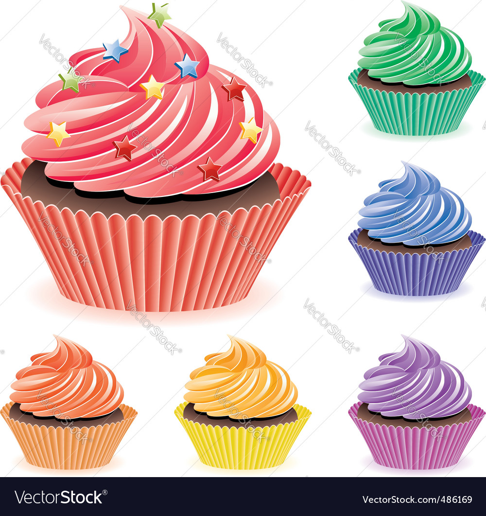 Colorful cupcakes vector | Price: 1 Credit (USD $1)