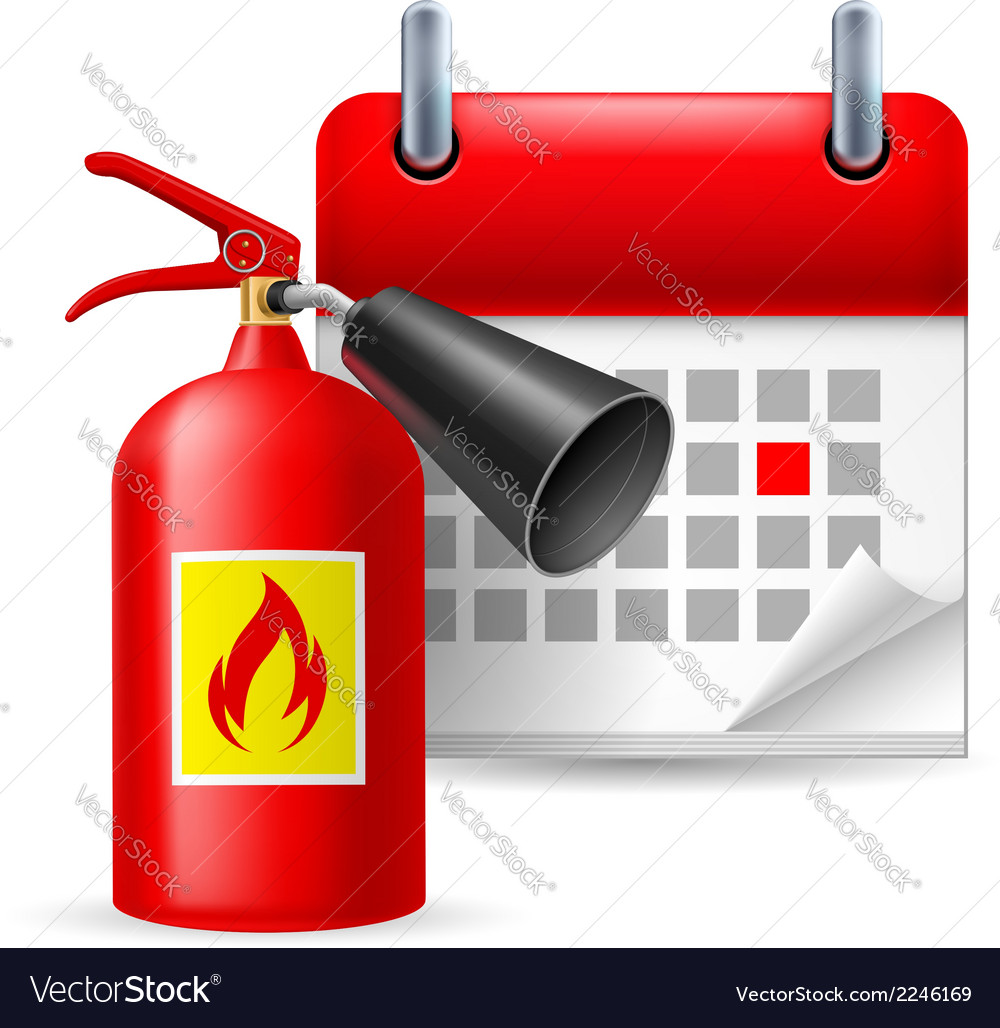 Fire extinguisher and calendar vector | Price: 1 Credit (USD $1)