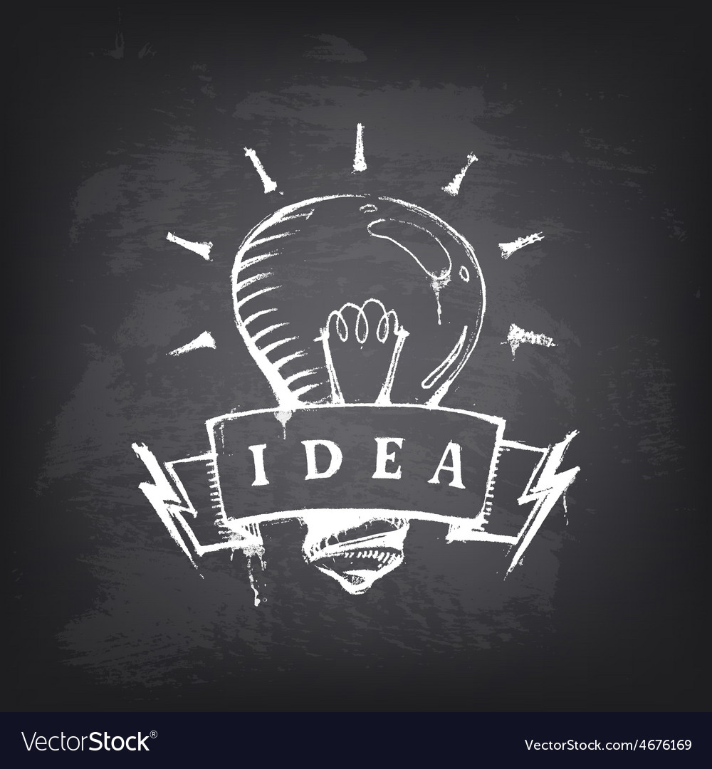 Hand drawn banner with light bulb vector | Price: 1 Credit (USD $1)