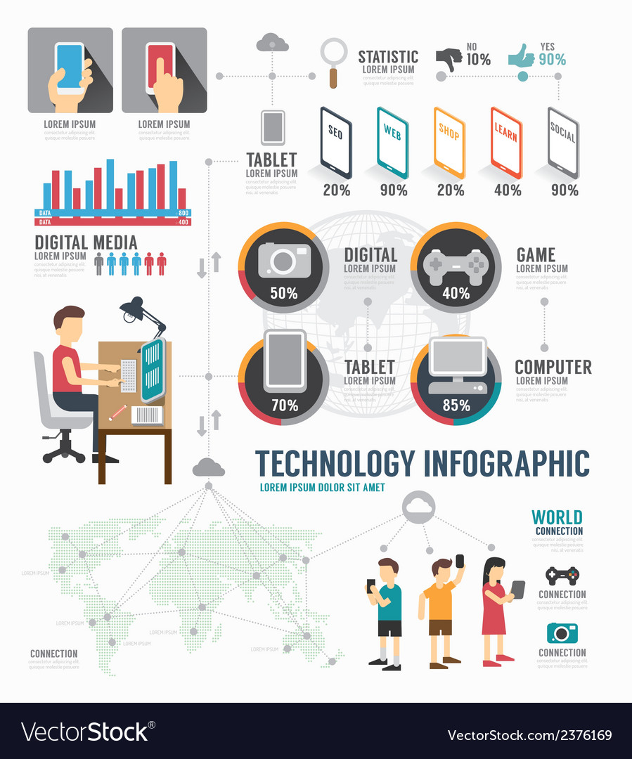 Infographic technology digital template design vector | Price: 1 Credit (USD $1)
