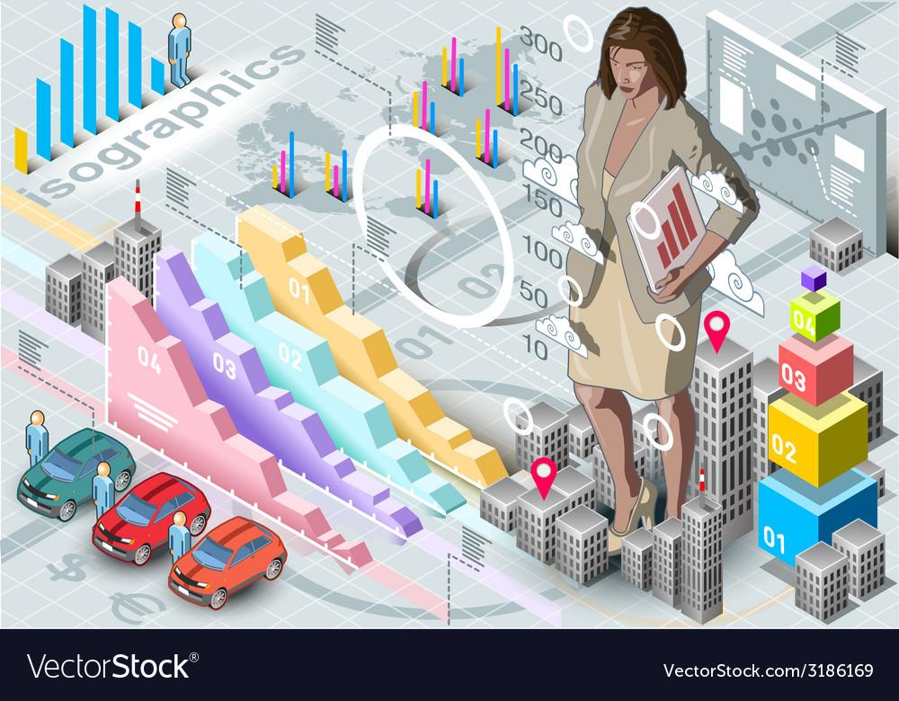 Isometric infographic woman secretary set elements vector | Price: 3 Credit (USD $3)