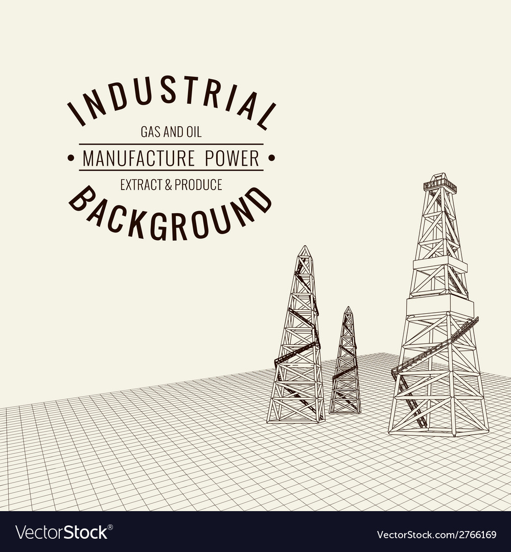 Oil derrick background vector | Price: 1 Credit (USD $1)