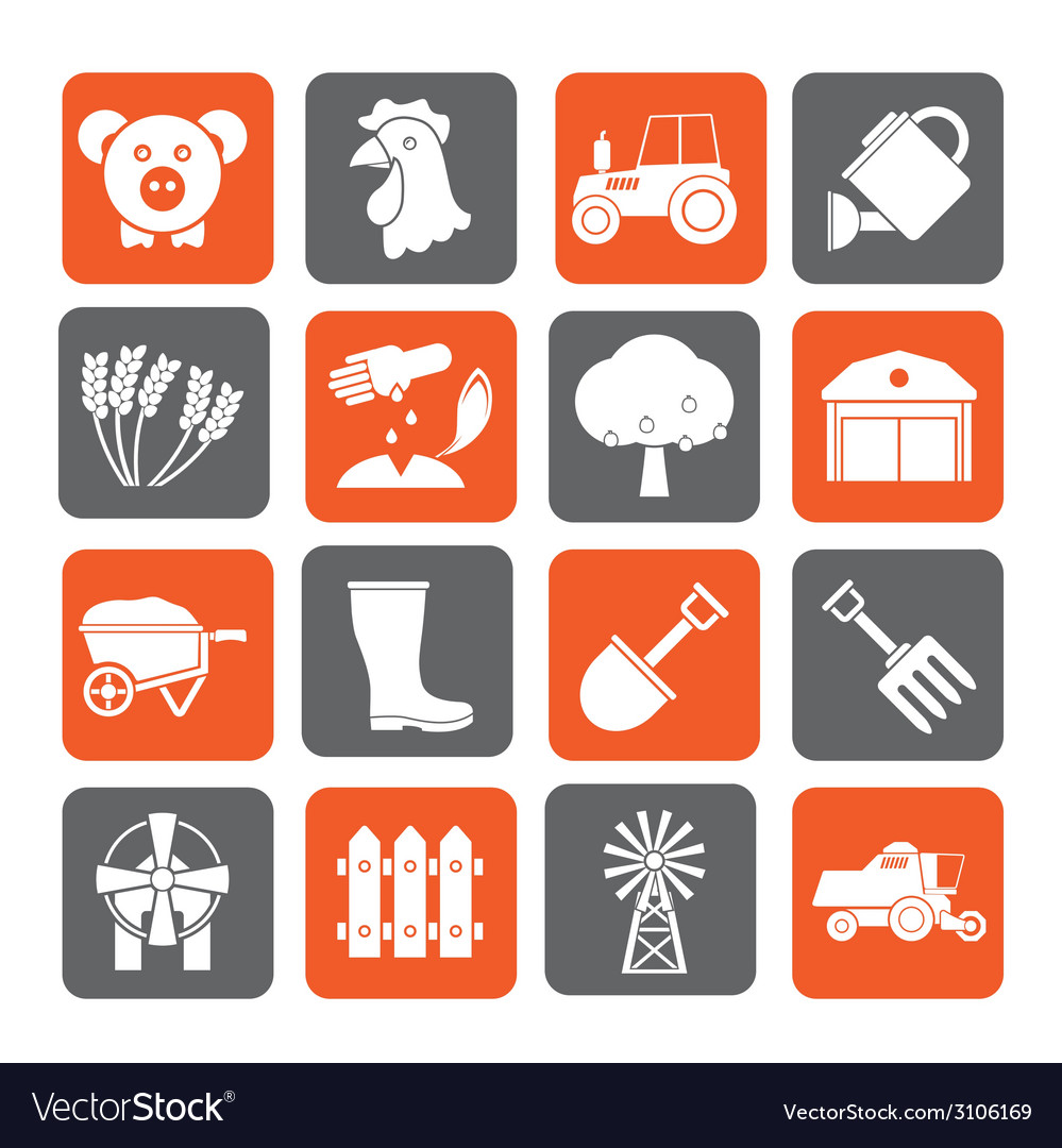 Silhouette agriculture and farming icons vector | Price: 1 Credit (USD $1)