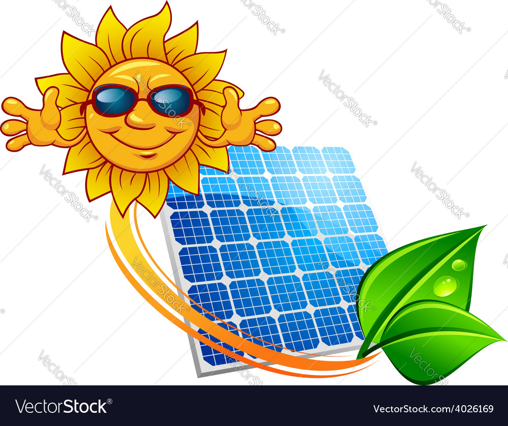 Solar panel and cartoon sun character vector | Price: 1 Credit (USD $1)
