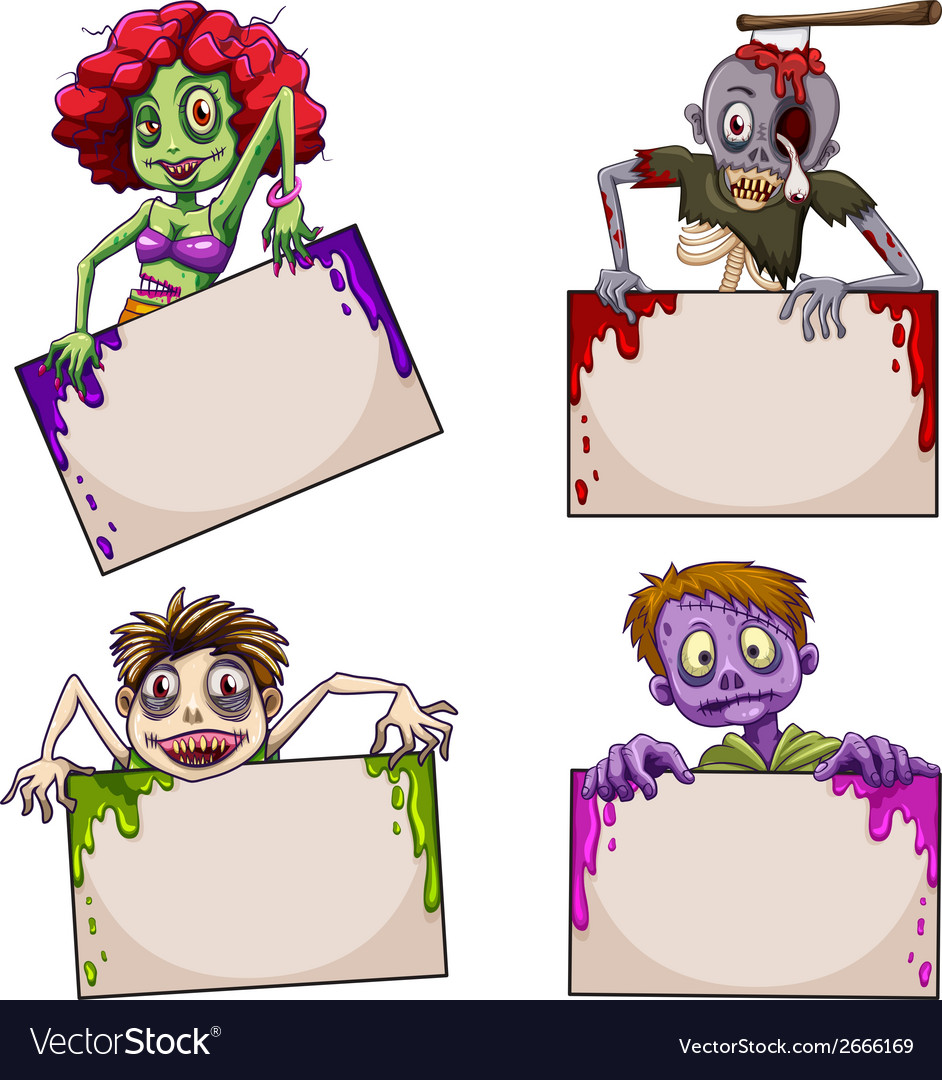 Zombies with empty signboards vector | Price: 1 Credit (USD $1)