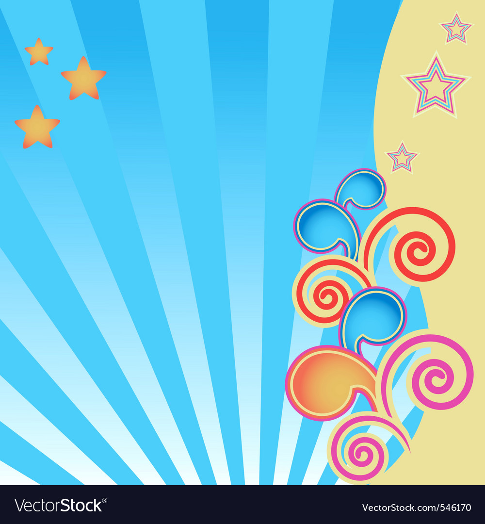Abstract background with stars and swirls vector | Price: 1 Credit (USD $1)
