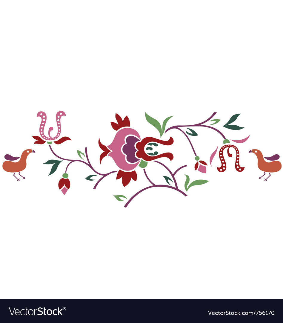 Abstract floral branch with bird vector | Price: 1 Credit (USD $1)