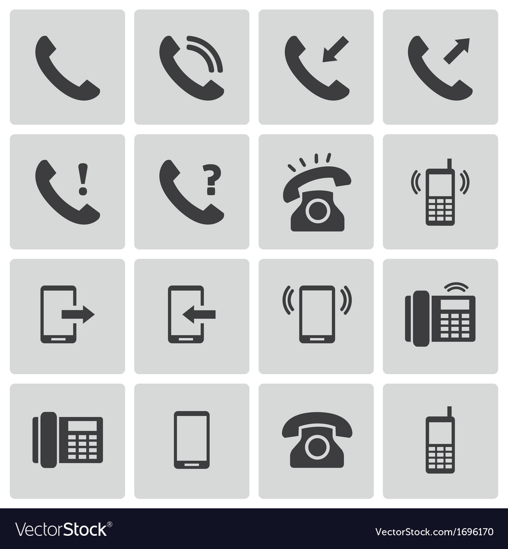 Black telephone icons set vector | Price: 1 Credit (USD $1)