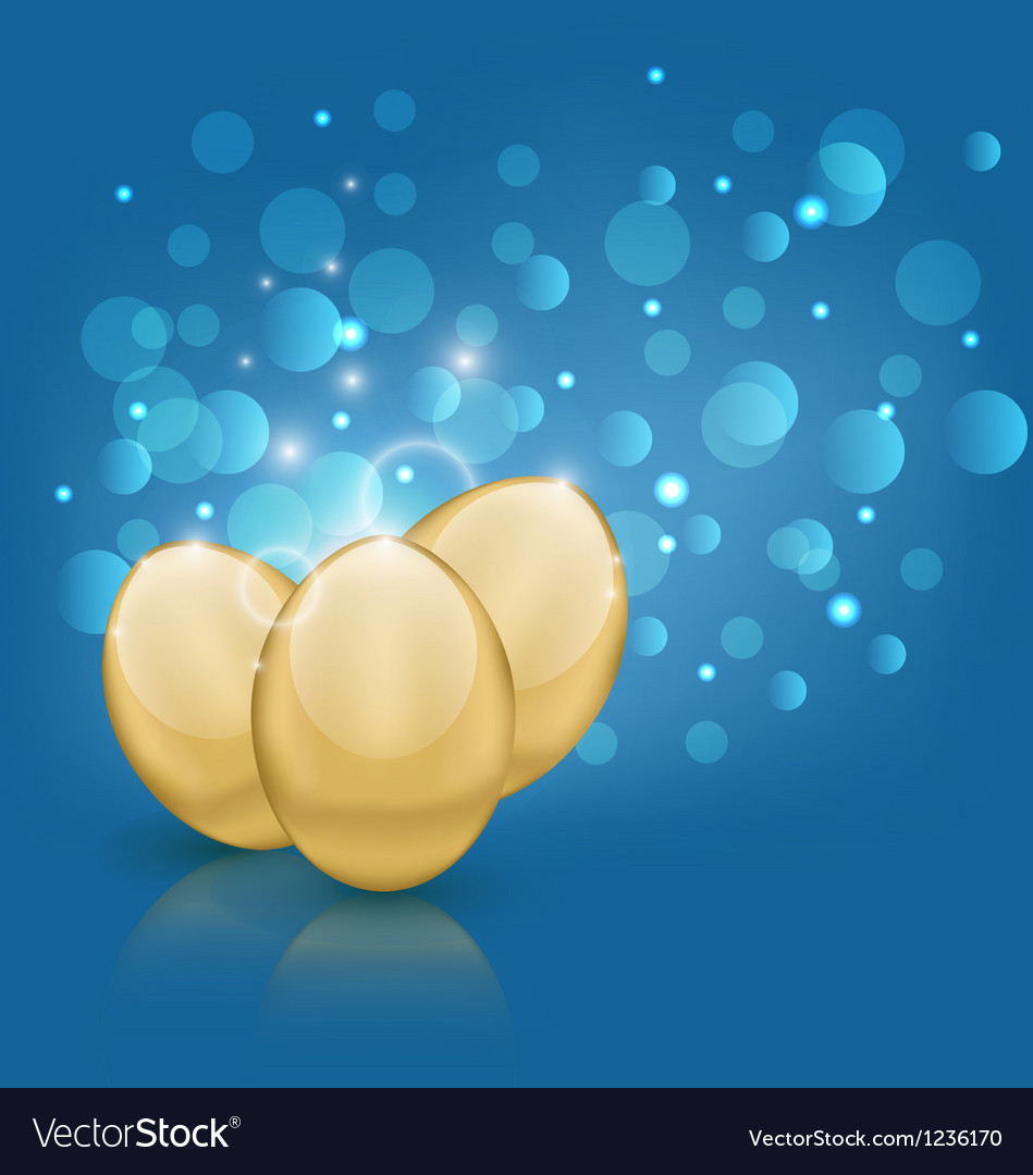 Easter card with golden eggs vector | Price: 1 Credit (USD $1)