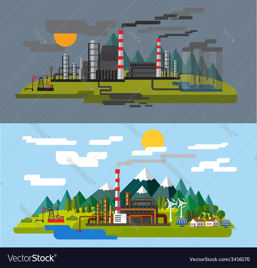 Farm and factory vector | Price: 1 Credit (USD $1)