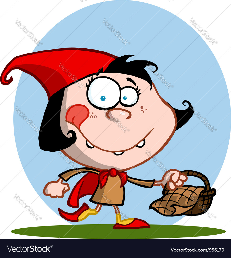 Happy little red riding hood vector | Price: 1 Credit (USD $1)