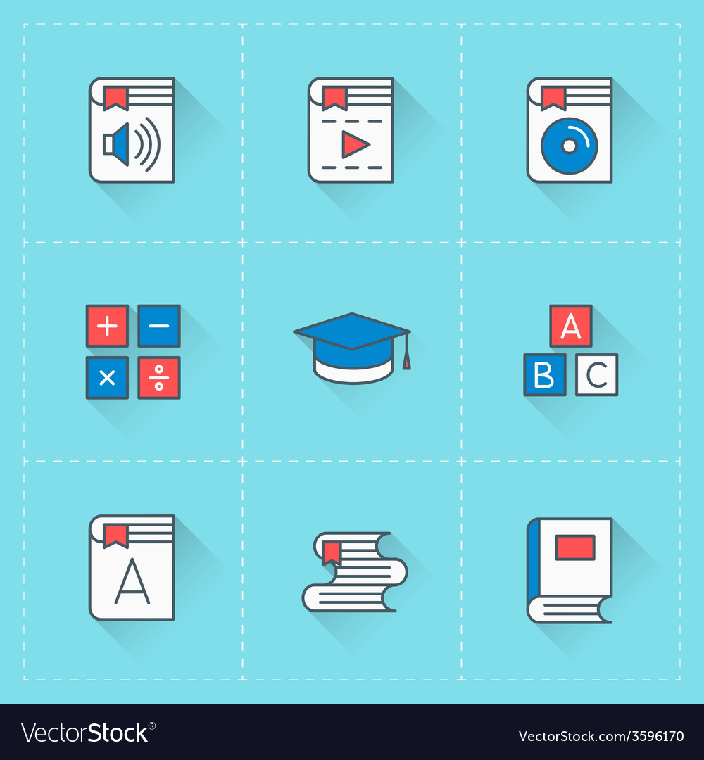 Icon set in flat design style for web site design vector | Price: 1 Credit (USD $1)
