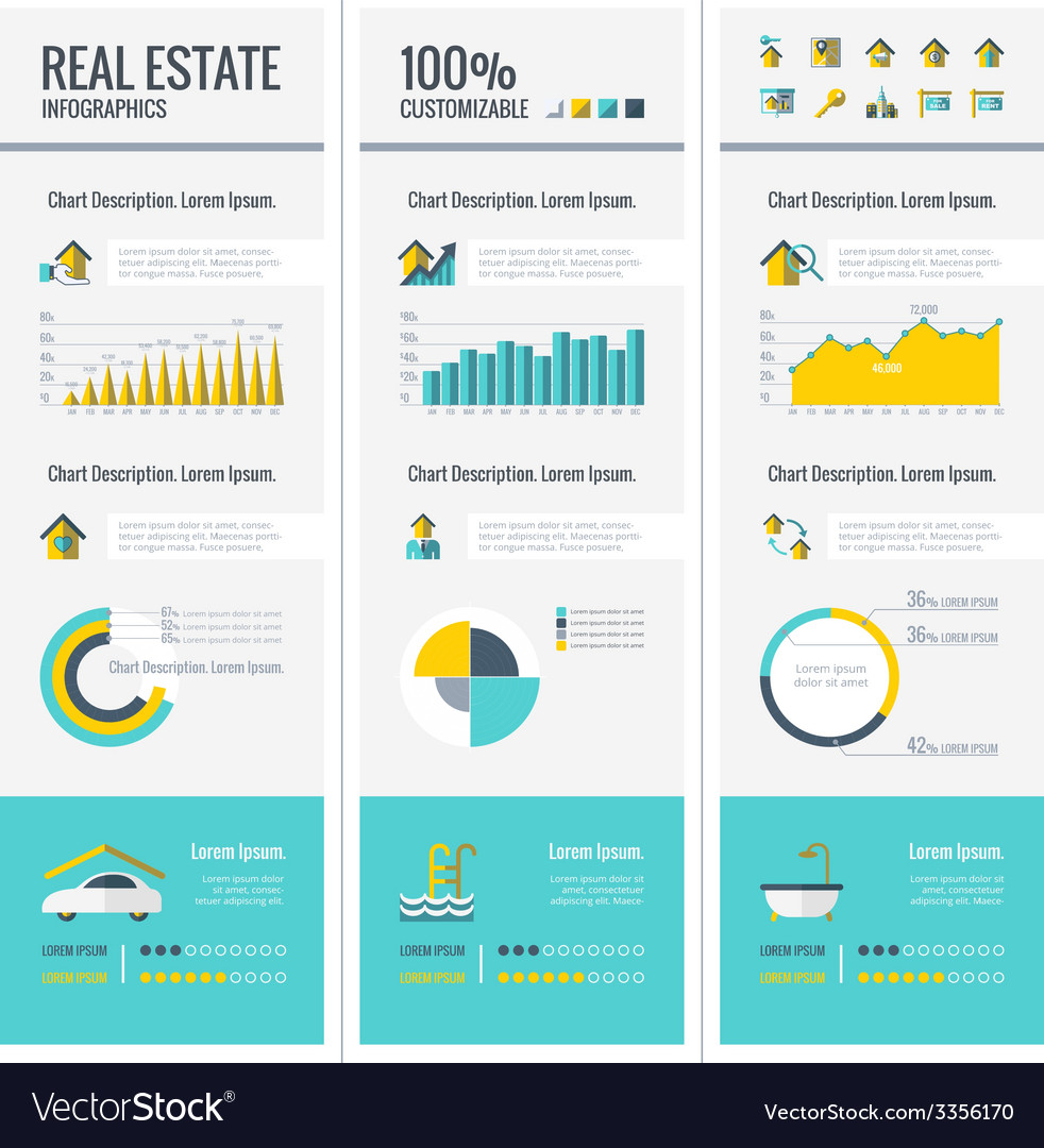 Real estate infographic elements vector | Price: 1 Credit (USD $1)