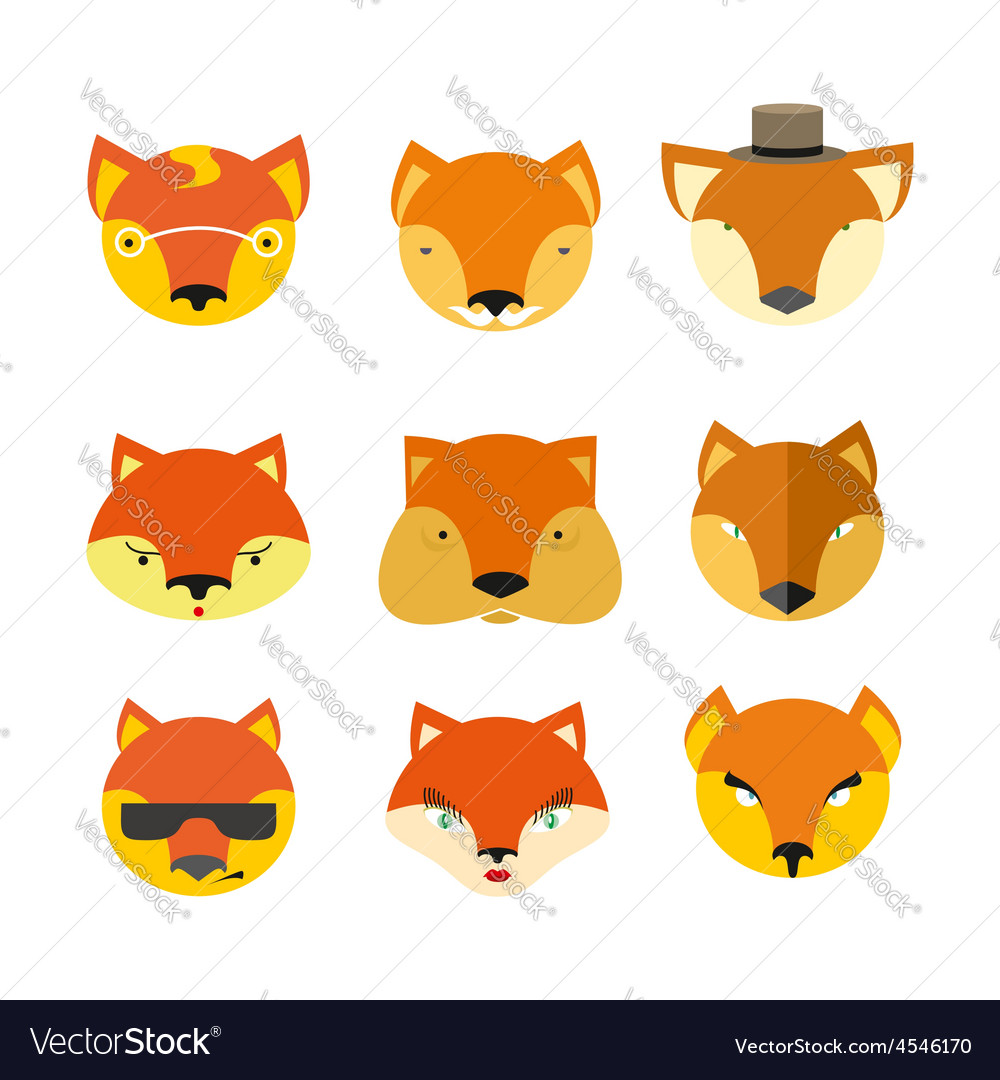 Set foxes muzzle different nature vector | Price: 1 Credit (USD $1)