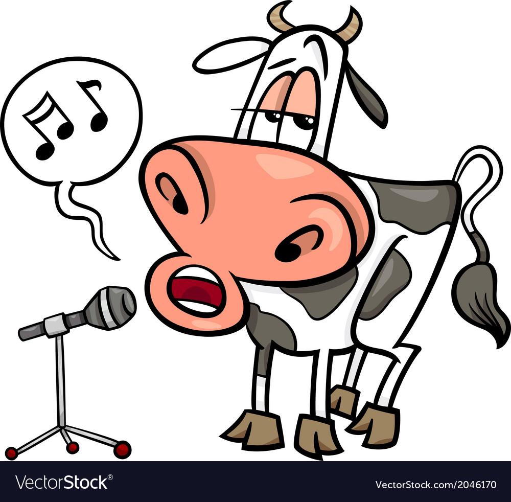 Singing cow cartoon vector | Price: 1 Credit (USD $1)