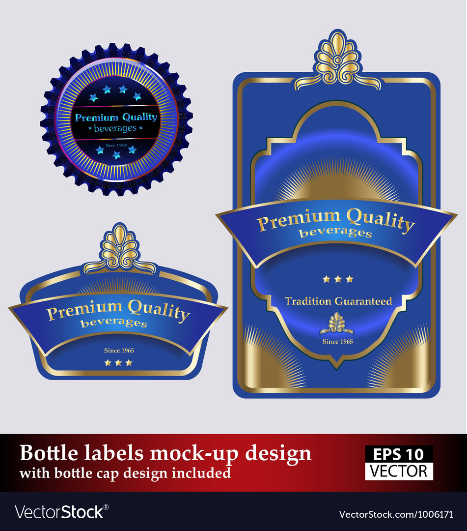 Bottle and bottle cap labels vector | Price: 1 Credit (USD $1)