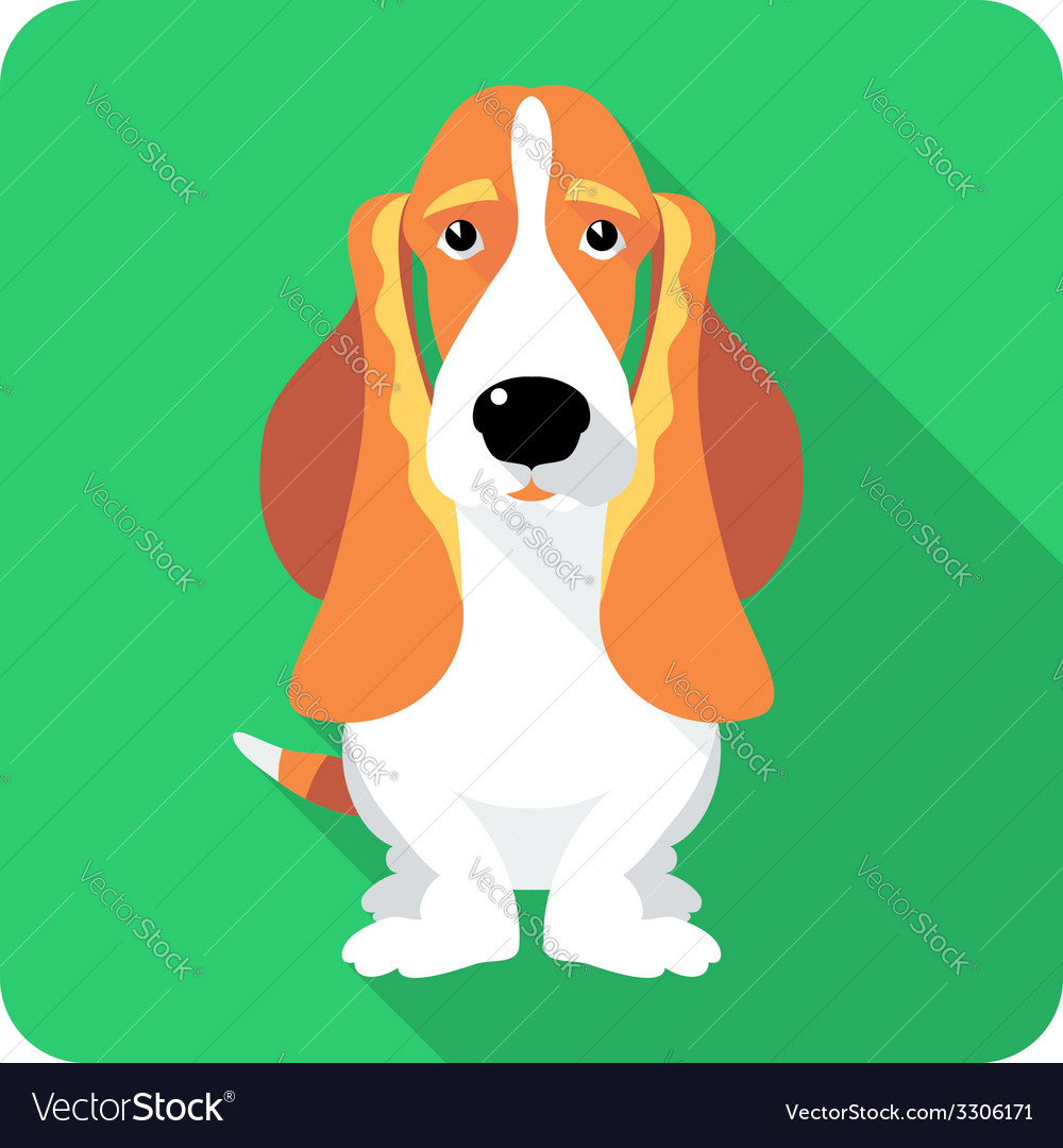 Dog basset hound sitting icon flat design vector | Price: 1 Credit (USD $1)