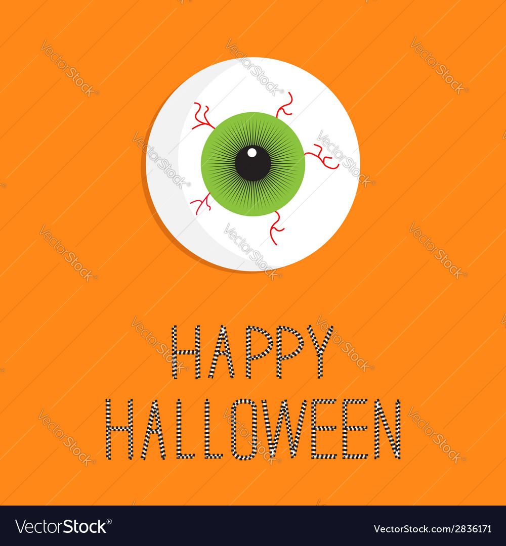 Eyeball bloody streaks happy halloween card flat vector | Price: 1 Credit (USD $1)