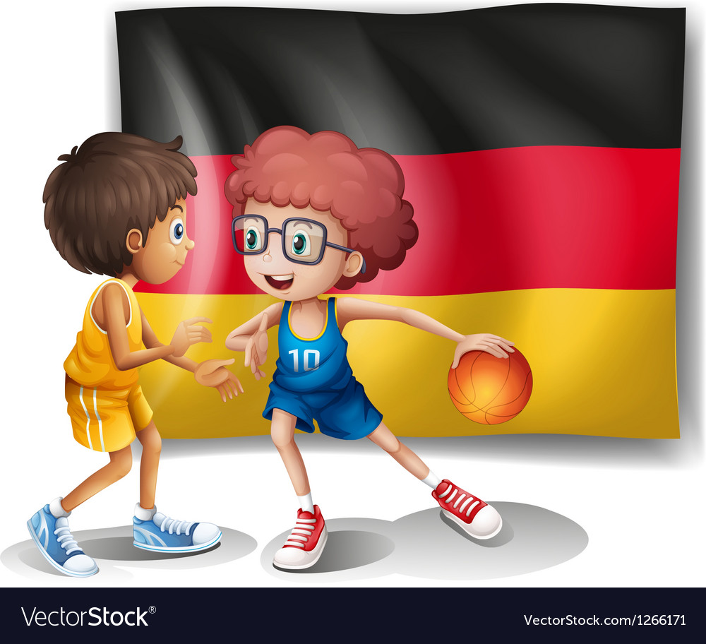 Flag of germany with the two athletes vector