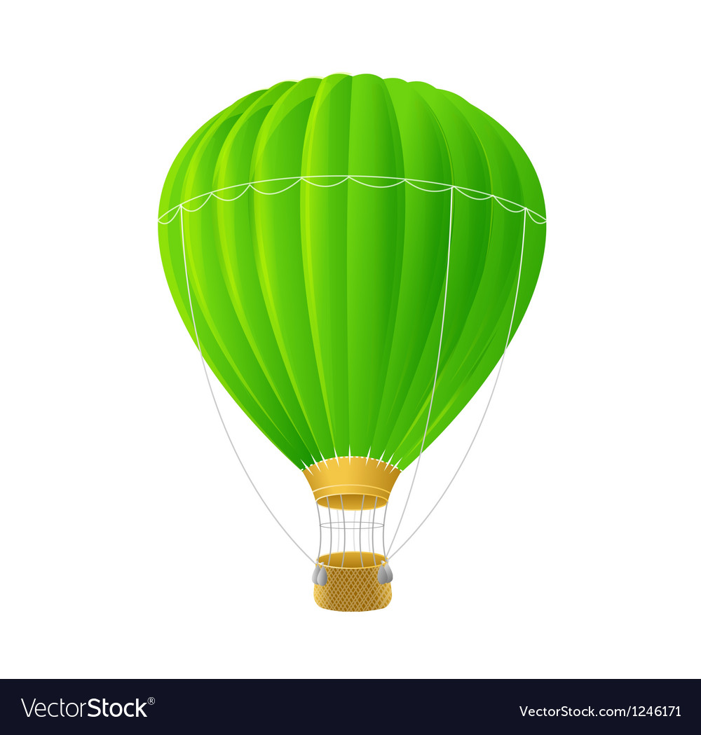 Green air ballon isolated on white vector | Price: 1 Credit (USD $1)
