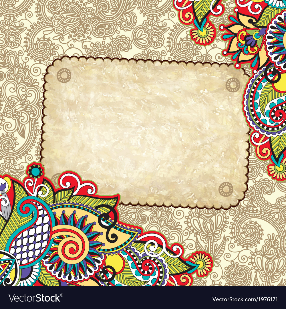 Hand draw ornate grunge vintage template vector | Price: 1 Credit (USD $1)