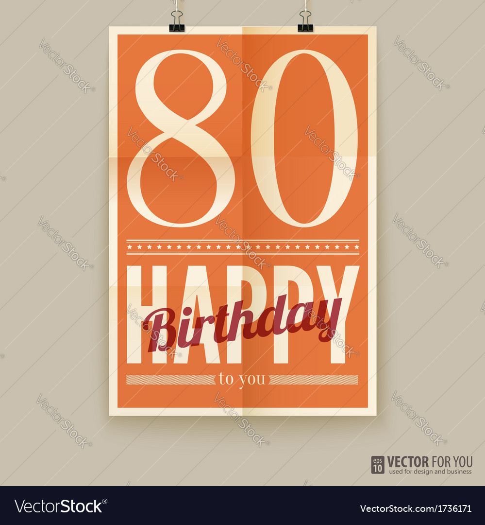 Happy birthday poster card eighty years old vector | Price: 1 Credit (USD $1)