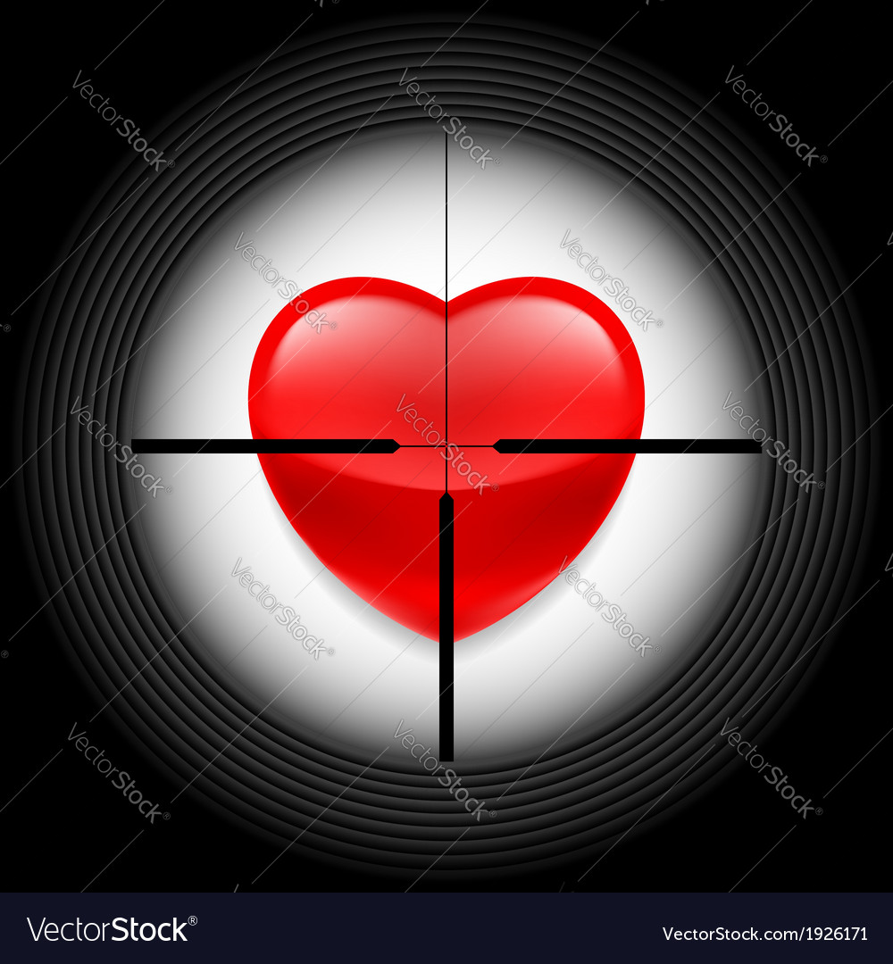 Heart in rifle sight vector | Price: 1 Credit (USD $1)