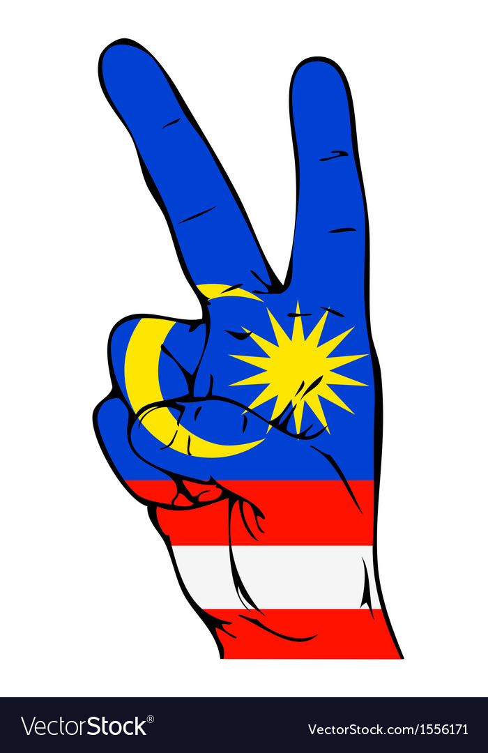 Peace sign of the malaysian flag vector | Price: 1 Credit (USD $1)