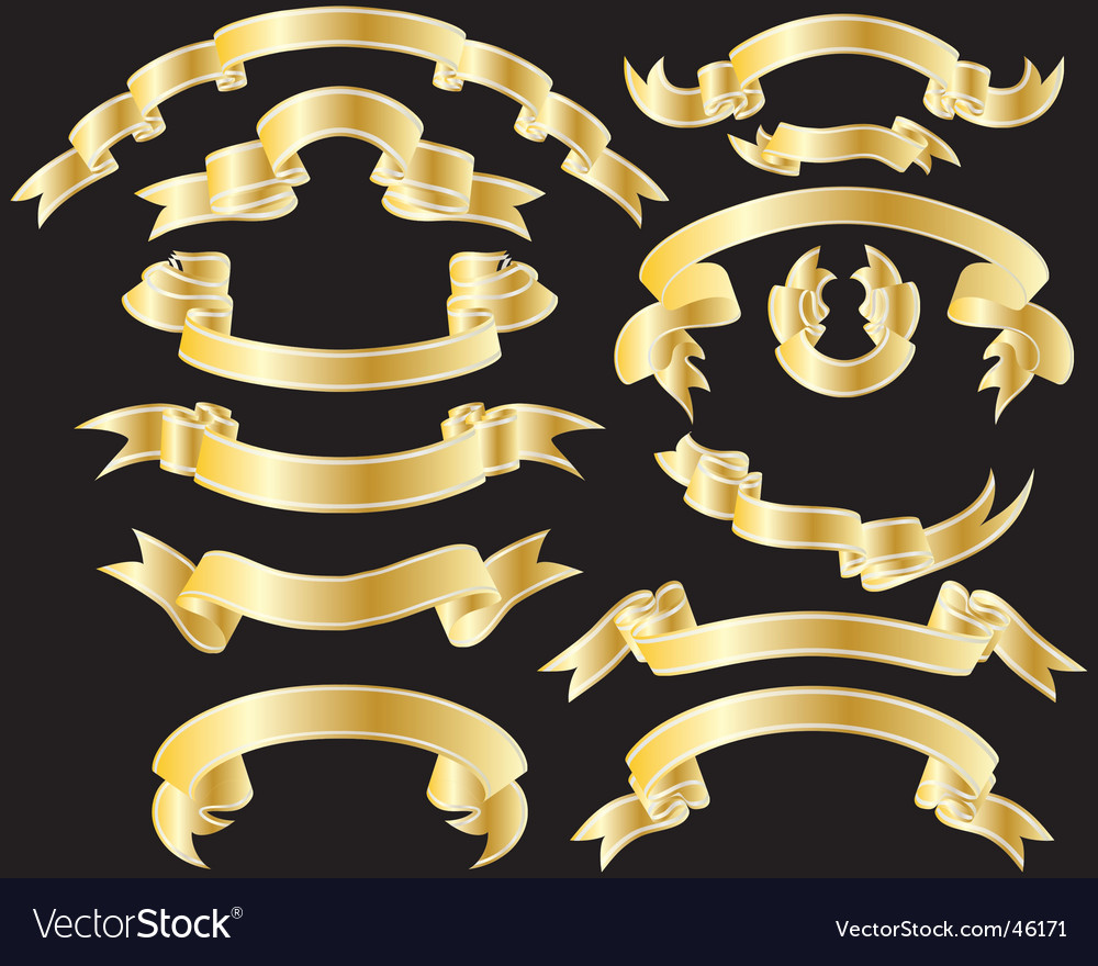 Set of golden ribbons vector | Price: 1 Credit (USD $1)