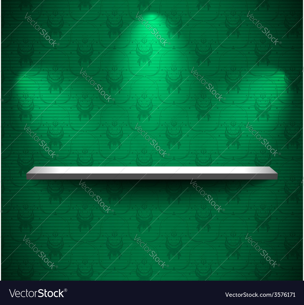 Shelf on the green wall vector | Price: 3 Credit (USD $3)