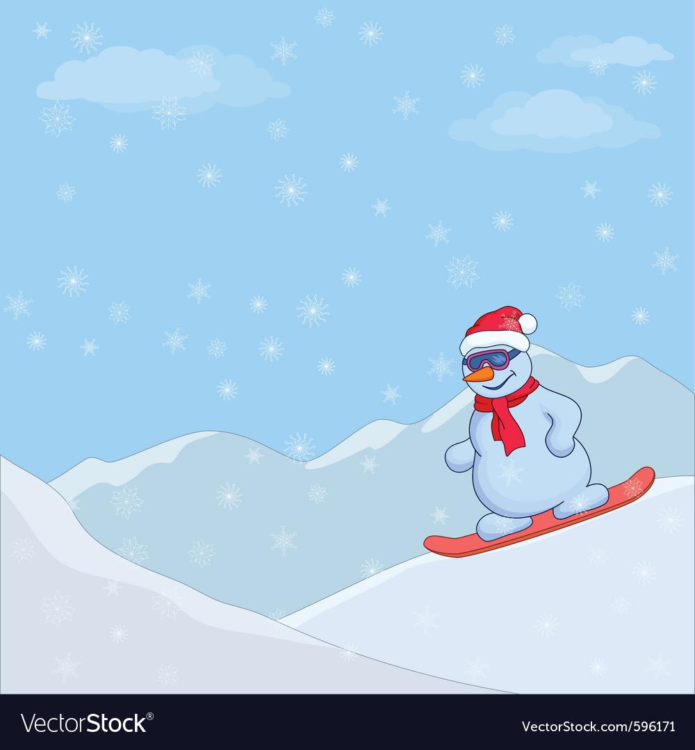 Snowman snowboarding vector | Price: 1 Credit (USD $1)