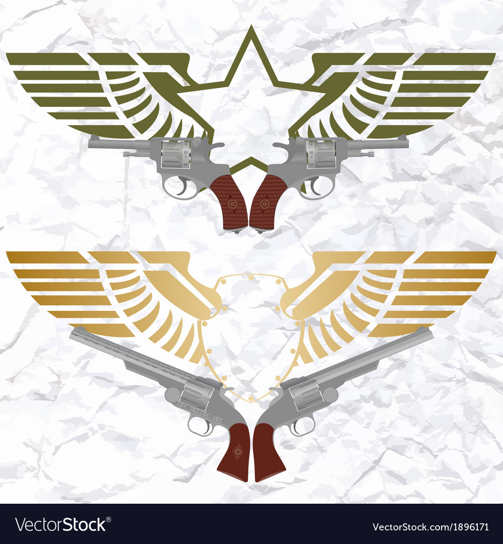 The star icon with wings and revolvers vector | Price: 1 Credit (USD $1)