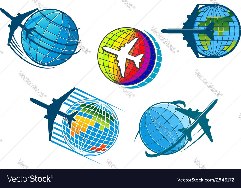 Airplane and air travel icons with globe vector | Price: 1 Credit (USD $1)
