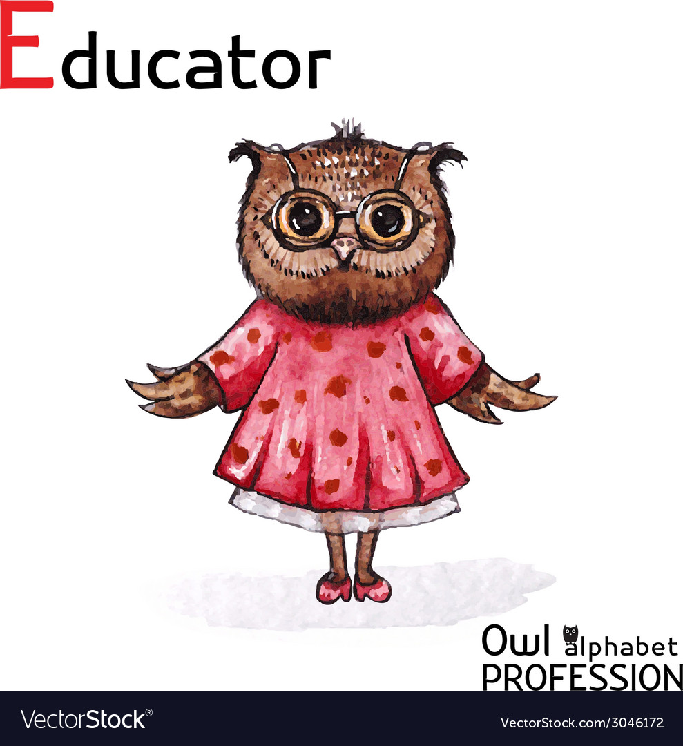 Alphabet professions owl educator character on a vector | Price: 1 Credit (USD $1)