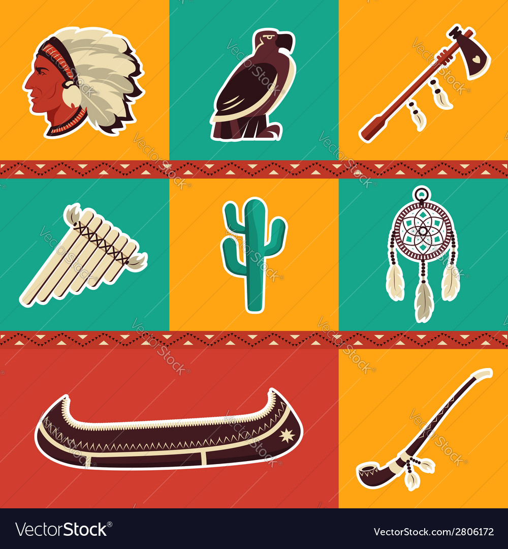 American indian icons set vector | Price: 1 Credit (USD $1)