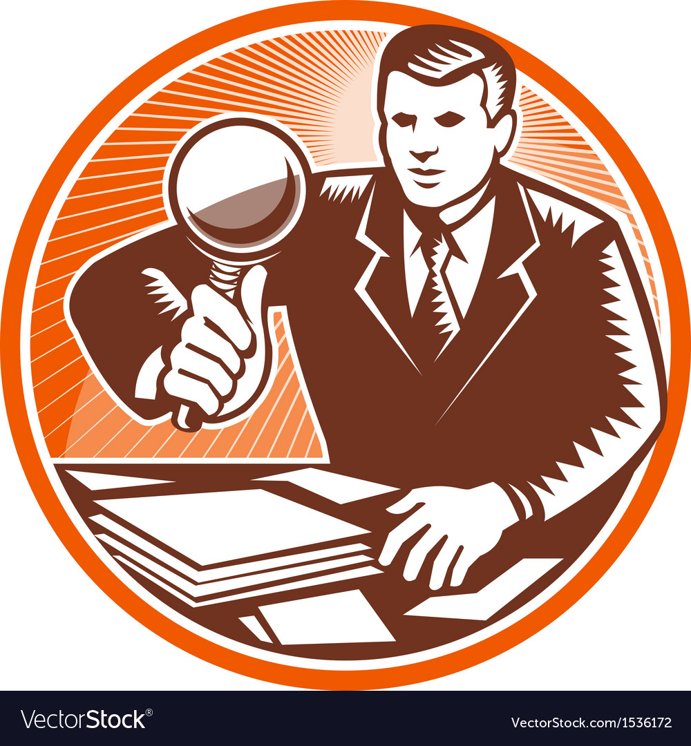 Businessman magnifying glass looking documents vector | Price: 1 Credit (USD $1)