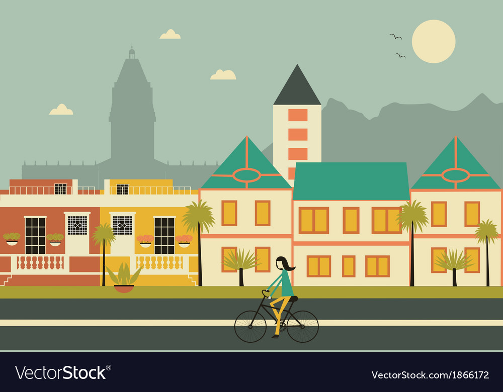 Cape town colored houses vector | Price: 1 Credit (USD $1)