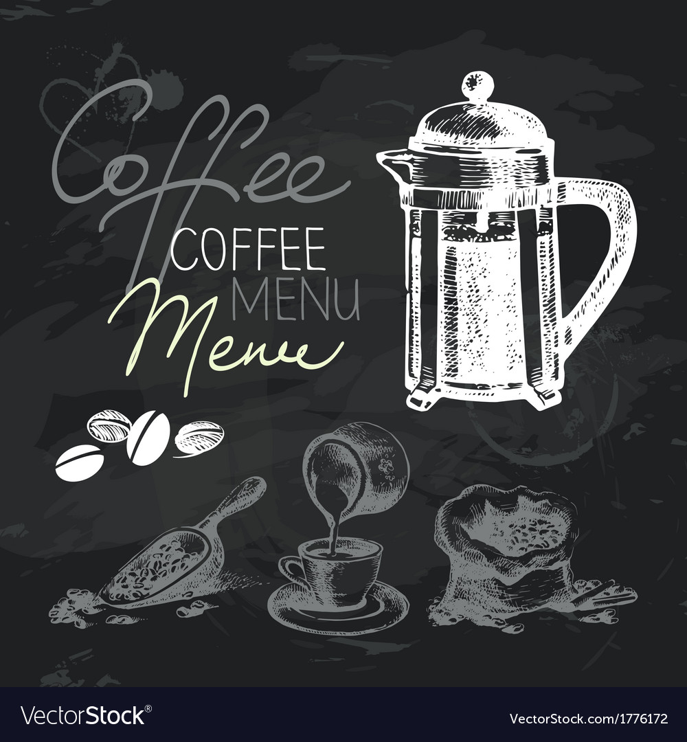 Coffee hand drawn chalkboard design set vector | Price: 1 Credit (USD $1)