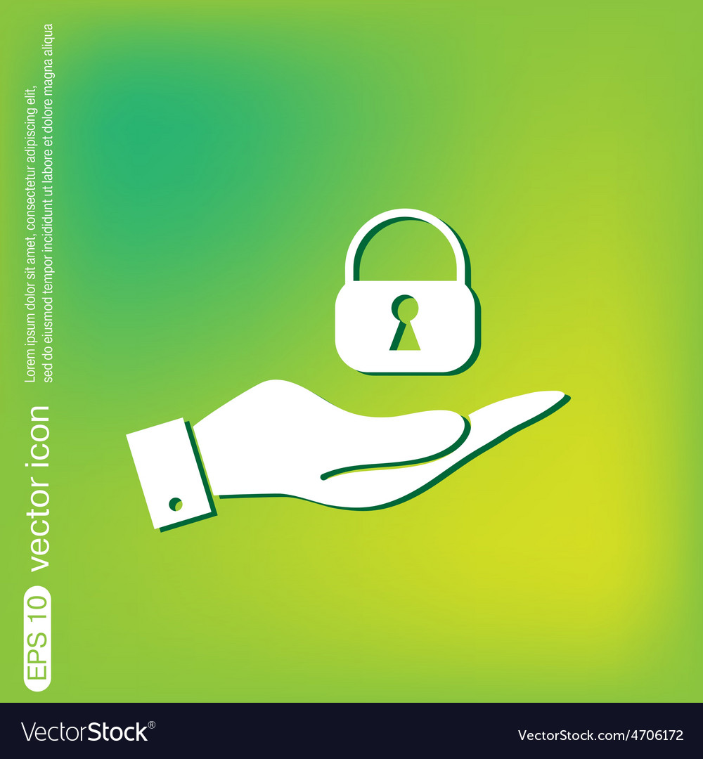 Hand holding a padlock vector   Price: 1 Credit (USD $1)