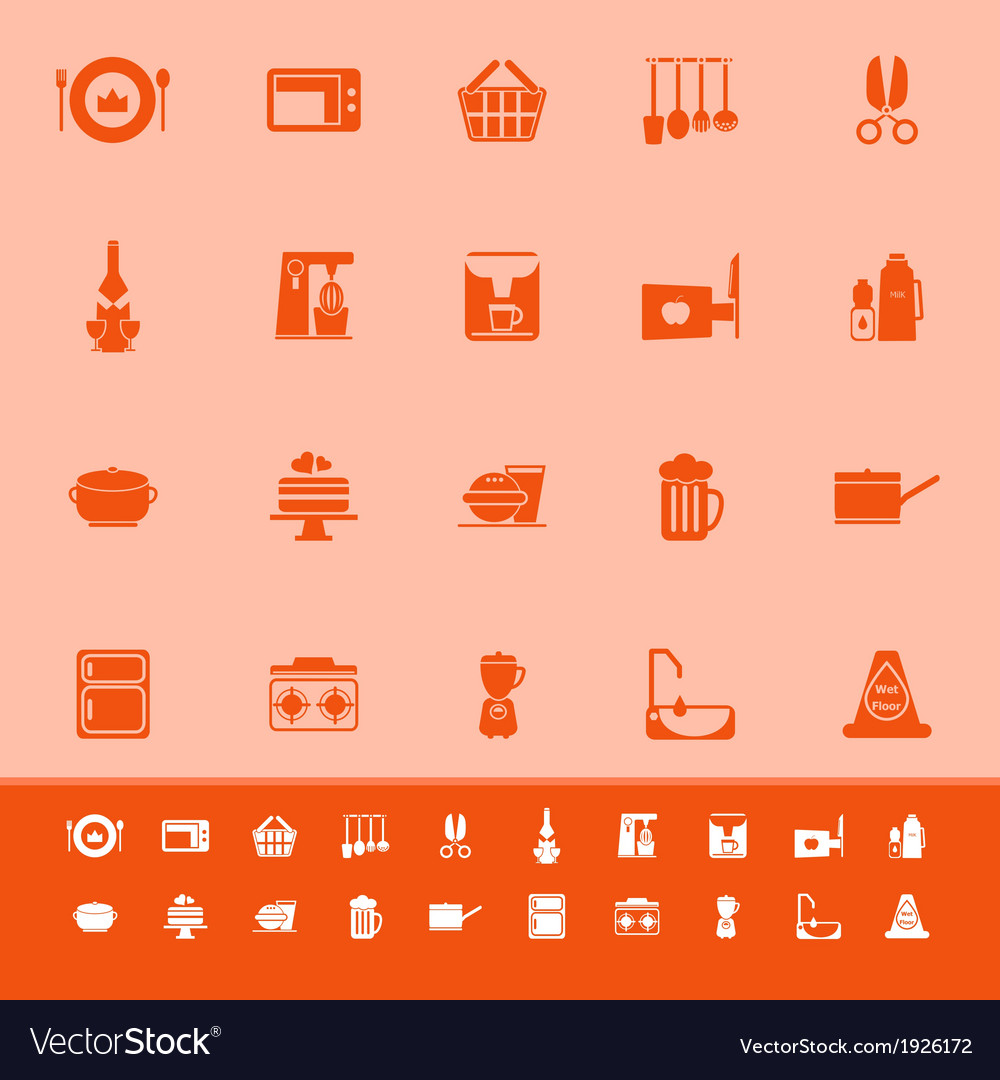 Home kitchen color icons on orange background vector | Price: 1 Credit (USD $1)