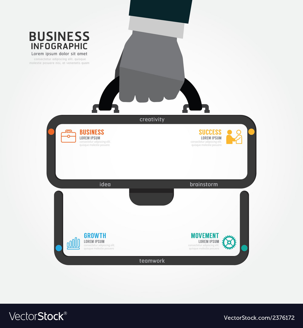 Infographics businessman hand hold business bag vector | Price: 1 Credit (USD $1)
