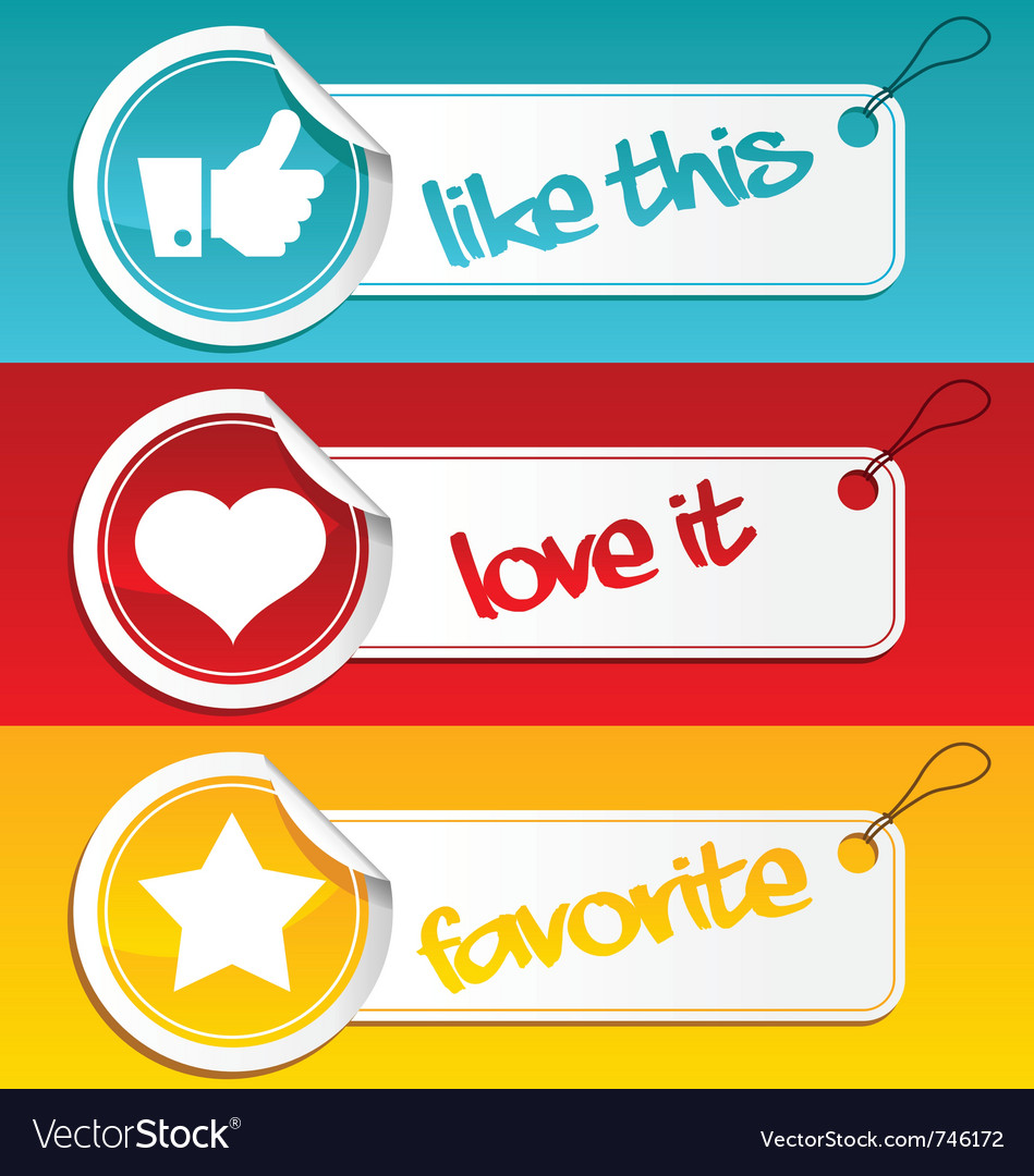 Like love and favorite tags vector | Price: 1 Credit (USD $1)
