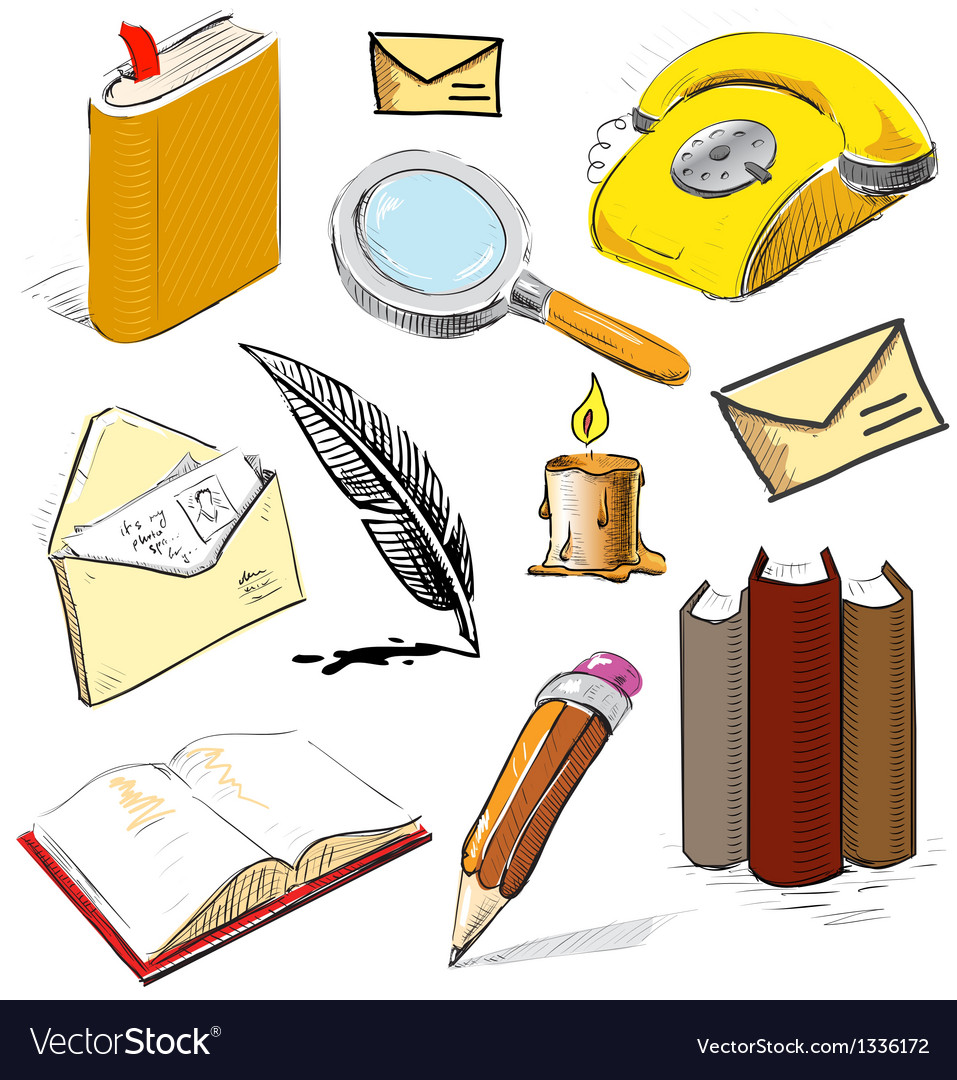 Office set reading writing communicating objects vector | Price: 3 Credit (USD $3)