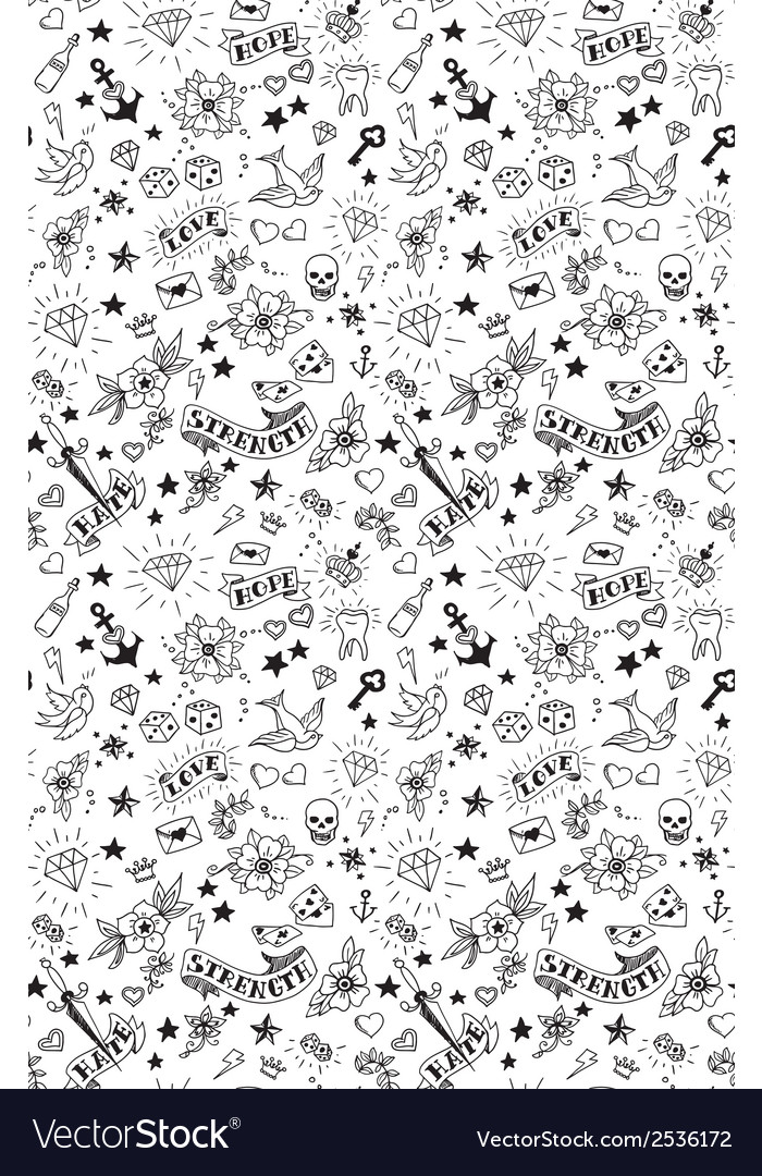 Old school tattoos pattern vector | Price: 1 Credit (USD $1)
