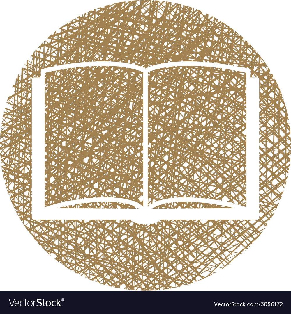 Open book icon with hand drawn lines texture vector | Price: 1 Credit (USD $1)