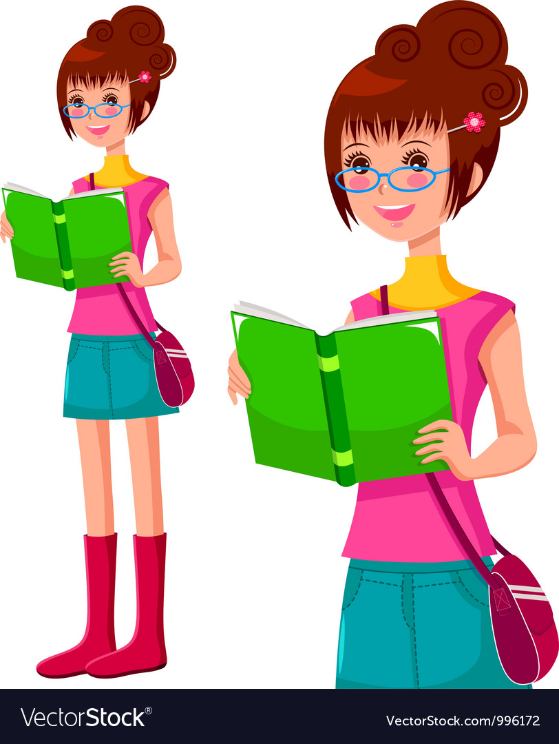 Reading girl vector | Price: 3 Credit (USD $3)