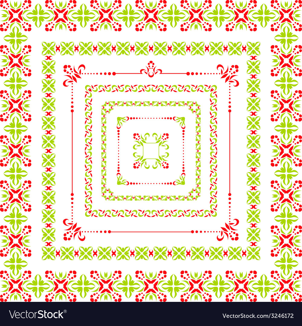 Set of isolated colorful folk decor frame vector | Price: 1 Credit (USD $1)