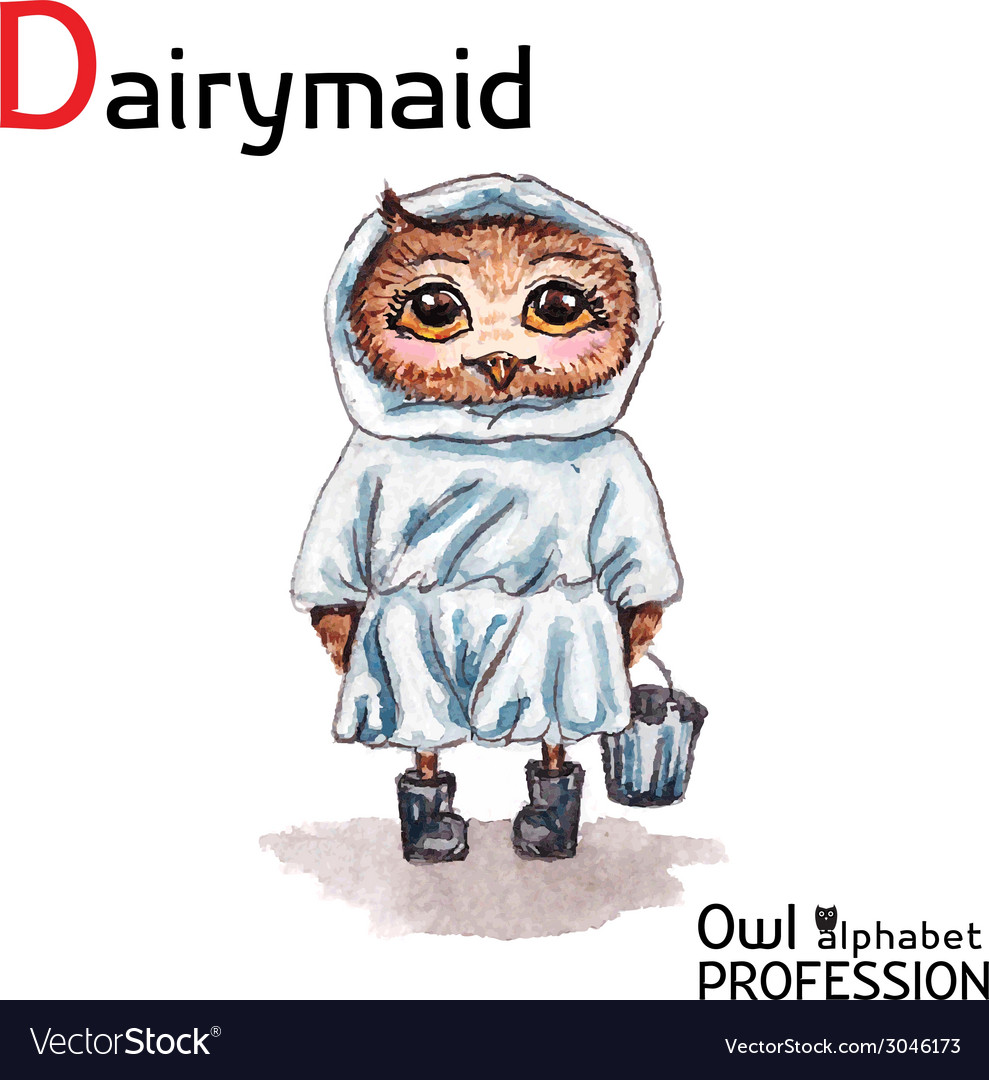 Alphabet professions owl dairymaid character on a vector | Price: 1 Credit (USD $1)