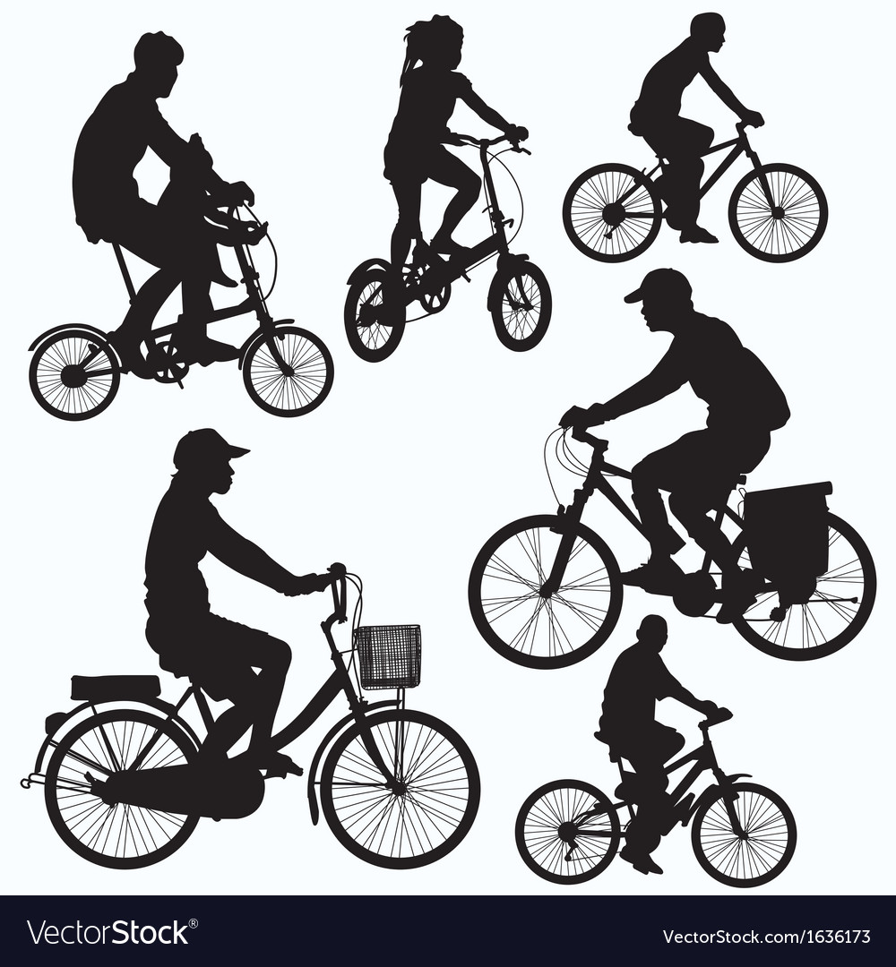 Bicycle ride silhouettes vector | Price: 1 Credit (USD $1)